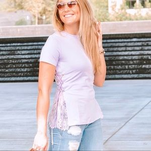 Tops - Lilac Lace Up Tee